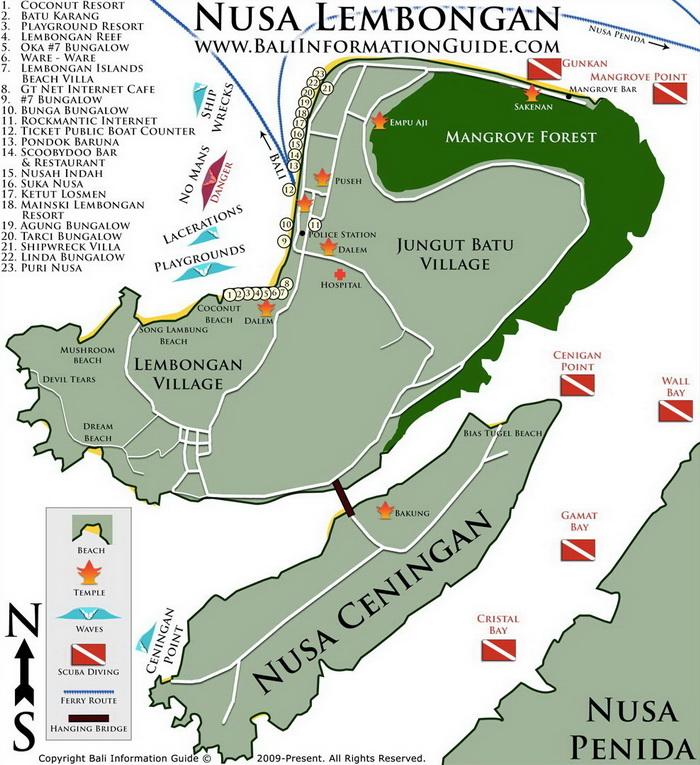 Peta Wisata Nusa Lembongan dan Nusa Ceningan. Peta dari BaliInformationGuide.com